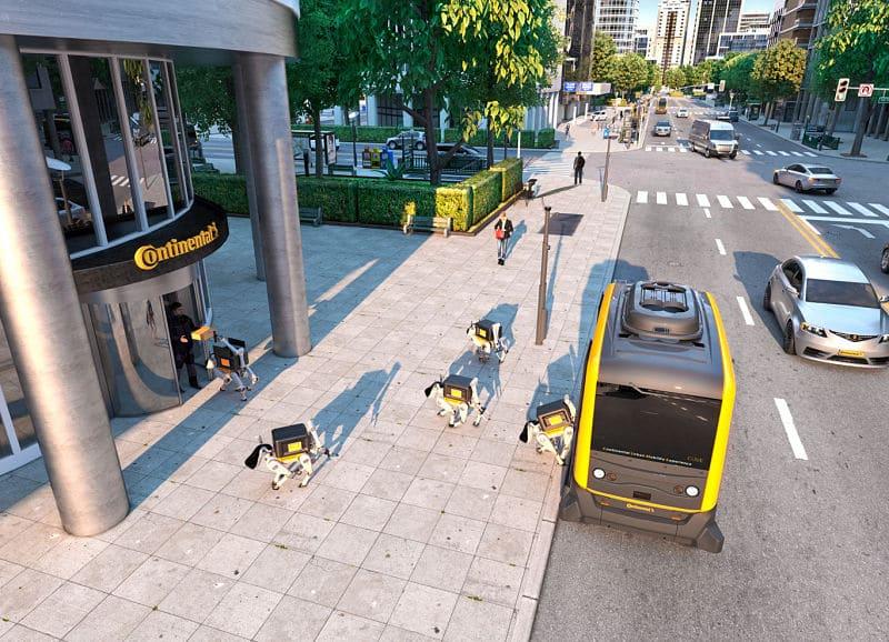 Perros-robot para entrega de artículos de mensajería
