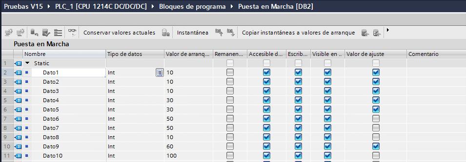 Valor de ajuste seleccionable dentro de un DB de datos.