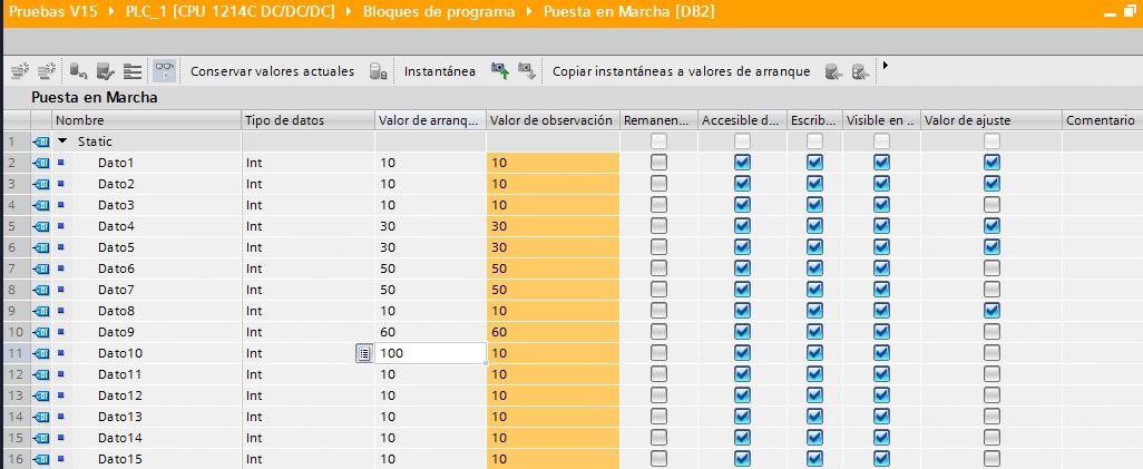 Ver valores de los datos del DB Online.