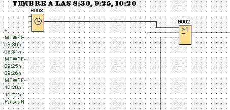 Timbre por horas controlado en programación LOGO 8.