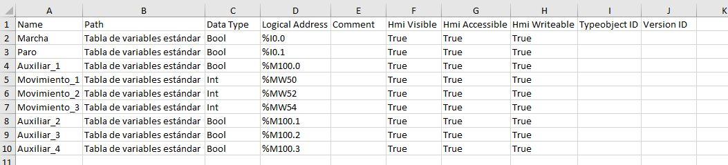 Exportar variables a Excel desde una tabla en TIA Portal