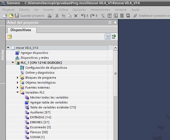 Tablas de variables definidas en el proyecto.
