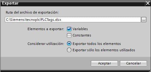 Ventana de opciones para exportar variables desde TIA Portal.