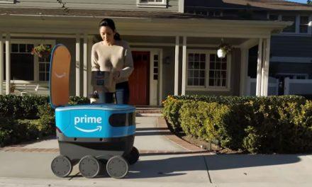 Robot mensajero autónomo de Amazon entrega de paquetes
