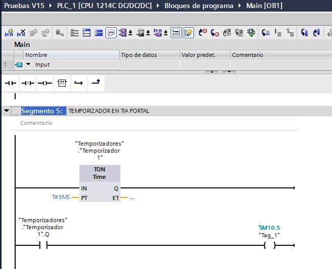 Utilizar la salida Q de temporizador en TIA Portal en otro segmento.