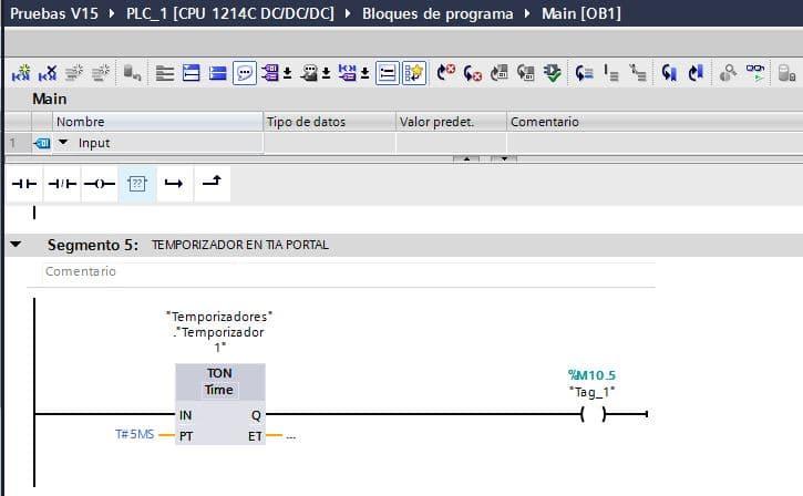 Utilizar la salida Q de un temporizador en TIA Portal en el mismo segmento.
