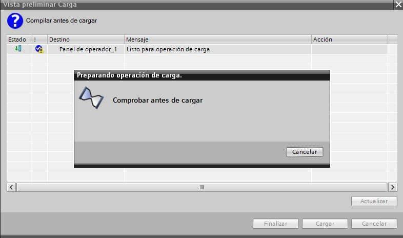 Cargar configuración en dispositivo PLC.