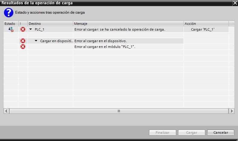 Nos aparece un error justo después de cargar el software a la CPU.