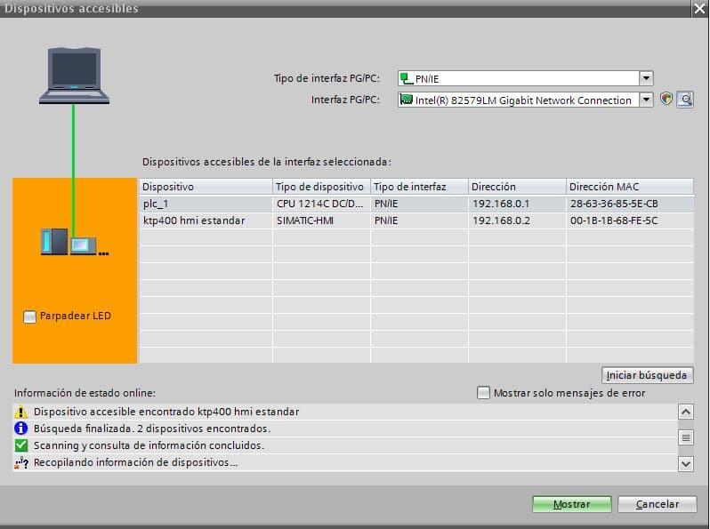 Nueva dirección IP para el PLC cuando no establece conexión TIA Portal