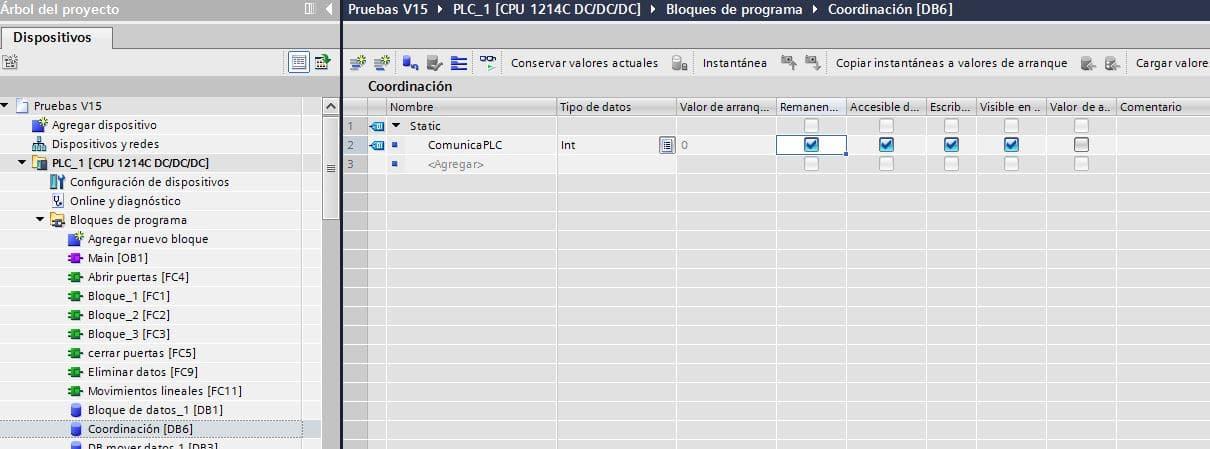 Crear variable en PLC para comunicación PLC y HMI.