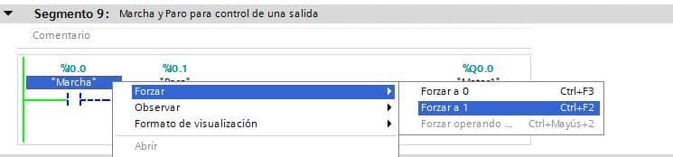 Forzado de entradas no habilitado en TIA Portal.