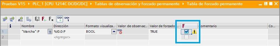 Seleccionar la casilla para forzar entradas en TIA Portal.