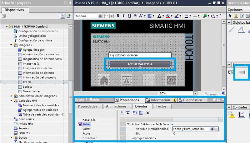 Actualizar fecha TIA Portal con botones en pantalla HMI