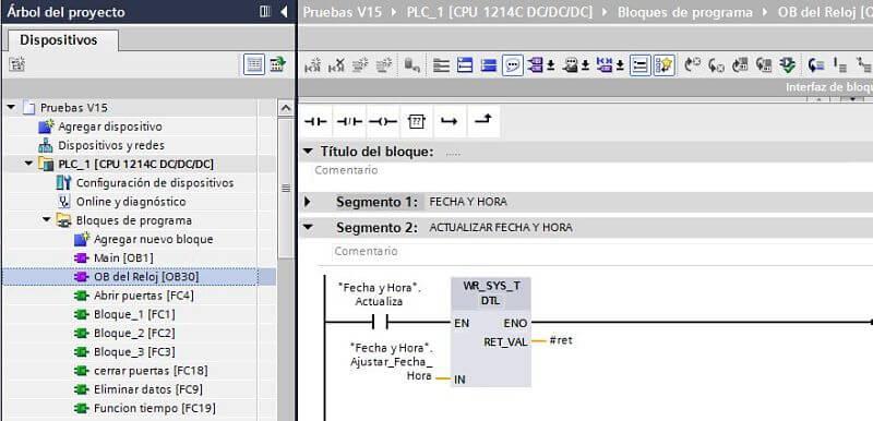 Función escribir datos en el Reloj TIA Portal