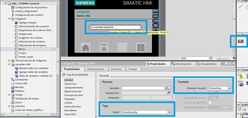 Introducir campo entrada salida para actualizar fecha TIA Portal en la HMI