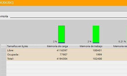 Memoria ocupada TIA Portal en proyecto y visualización Online