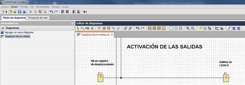 Activación de salidas en desplazamiento bits en salidas LOGO 8