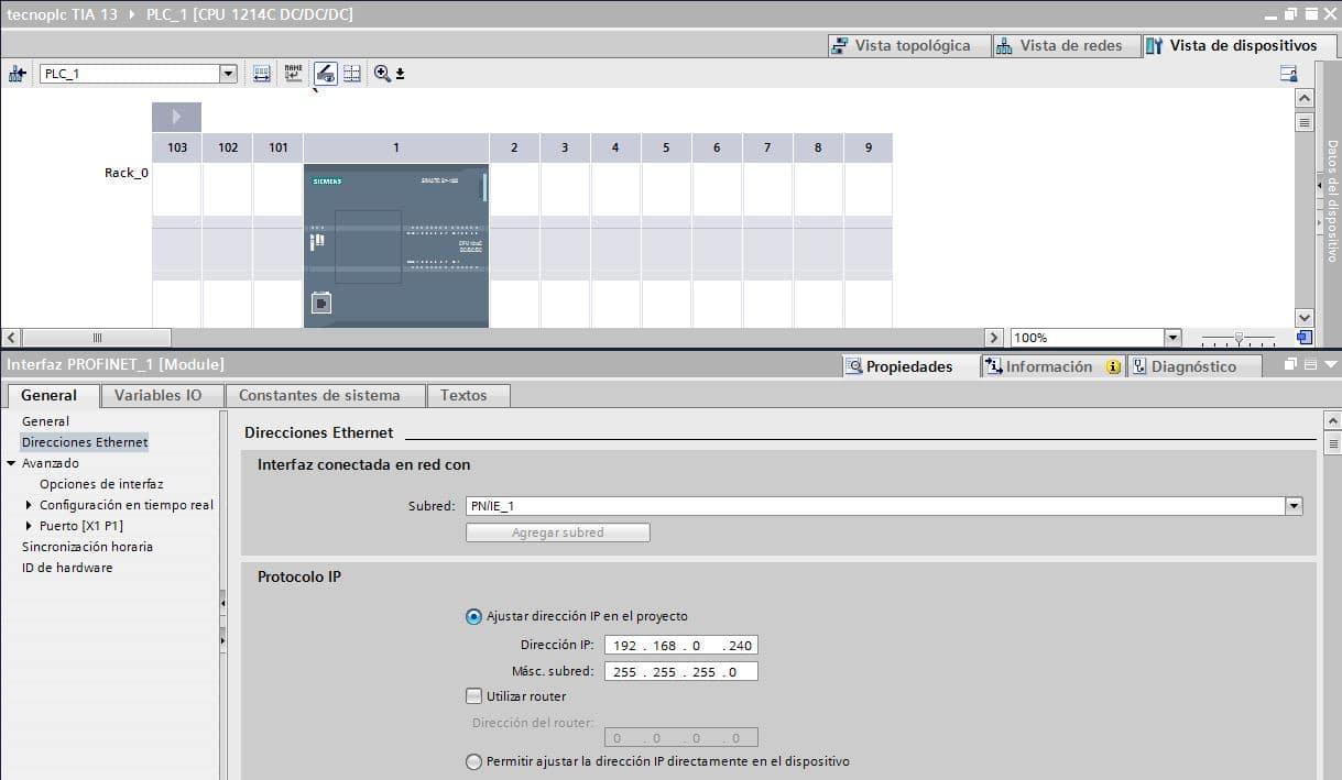 Configuración TIA Portal para servicio remoto TIA Portal a S7-1200.