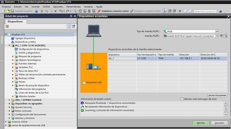 Determinar si existe comunicación con el PLC TIA Portal