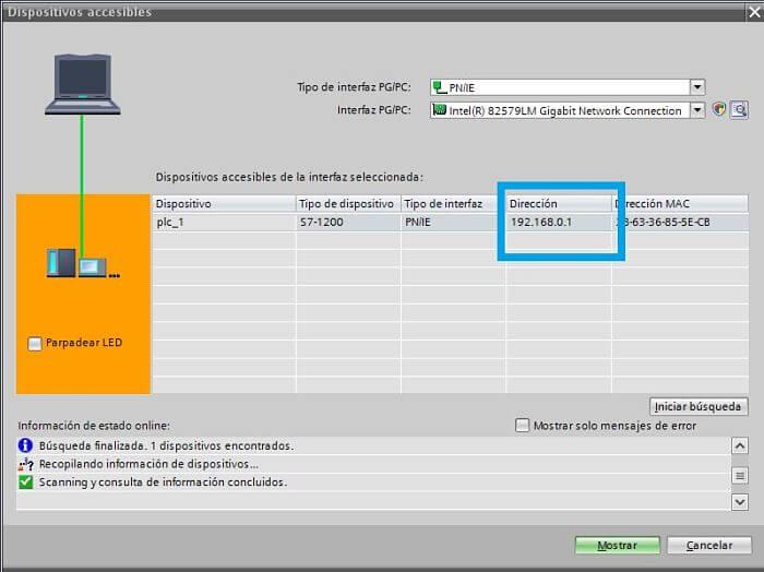Dirección del PLC detectada en TIA Portal