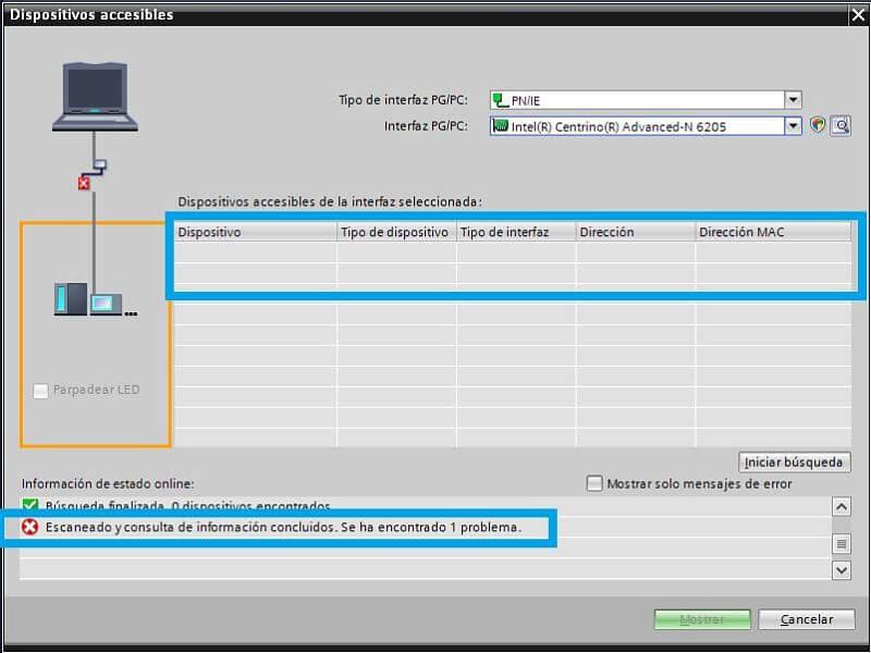 No se puede detectar IP de PLC Siemens en TIA Portal