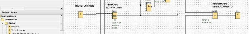 Registro desplazamiento bits en salidas LOGO 8 en el programa