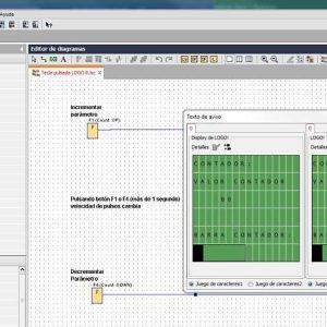 Visualización del valor de contador en pantalla en ejemplo tecla pulsada LOGO 8