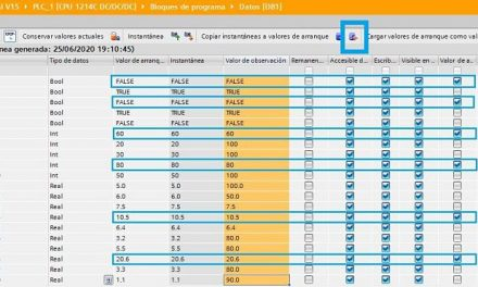 Cargar datos DB TIA Portal cómo guardar datos de CPU Online
