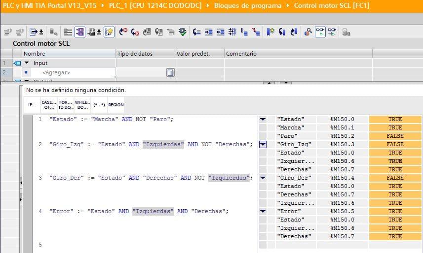Error activado en la programación SCL control motor.