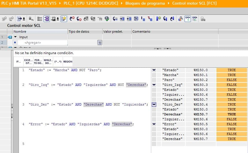 Giro a derechas activado Online en la programación SCL control motor.