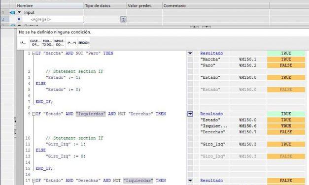 SCL control motor con IF usando condicionales en TIA Portal