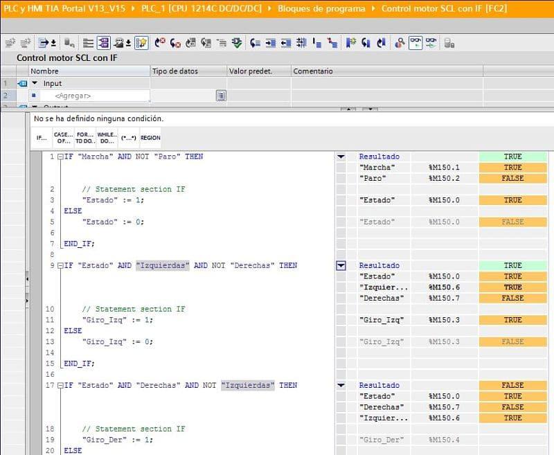 Simulación del programa SCL control motor con IF