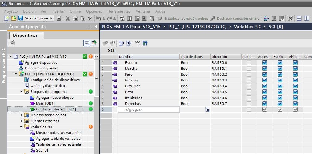 Tabla de variables para programación SCL control motor.