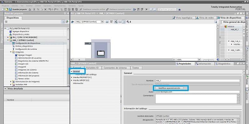 Cambiar Firmware HMI TIA Portal desde configuración de dispositivos
