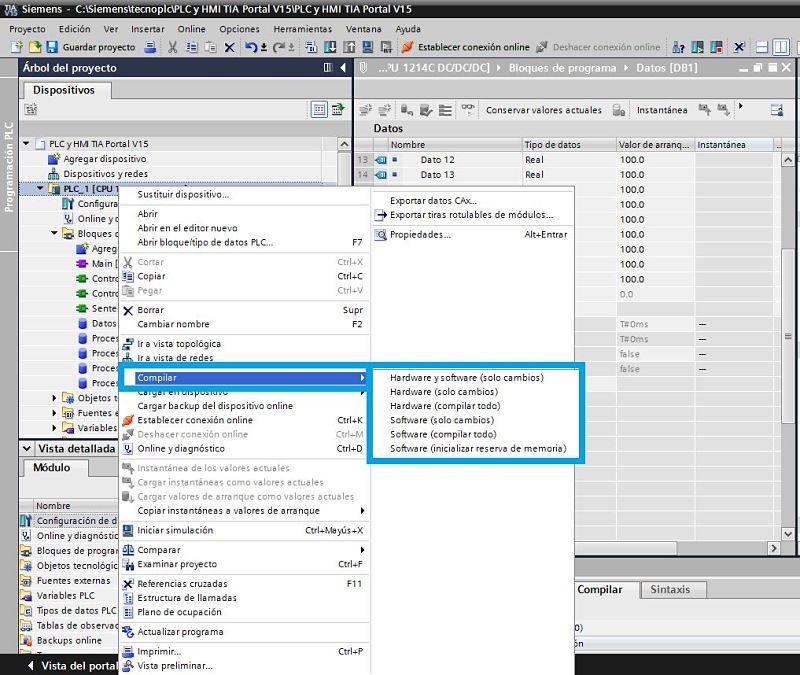 Compilar TIA Portal opciones de compilación total