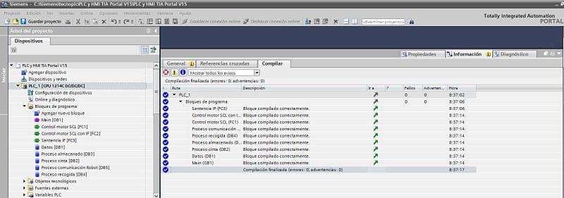 Compilar TIA Portal para averiguar cómo se ha ejecutado el proyecto