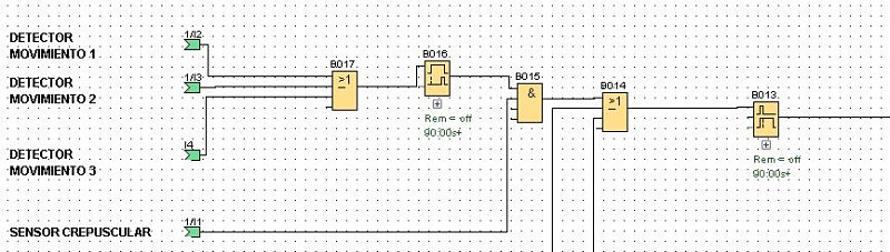 Componentes software utilizados en programa de control luces casa con LOGO