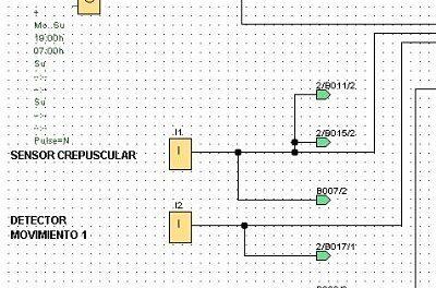 Control luces casa con LOGO con detectores y control horario