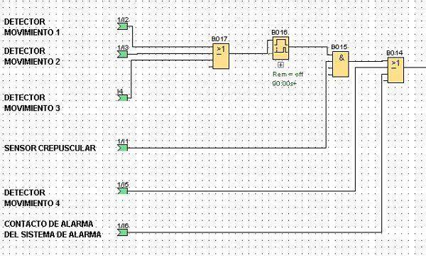Condiciones de detectores y sensor crepuscular en control luces casa LOGO