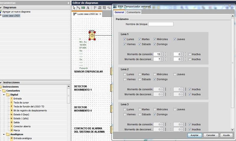 Conmutador horario en el control luces casa LOGO