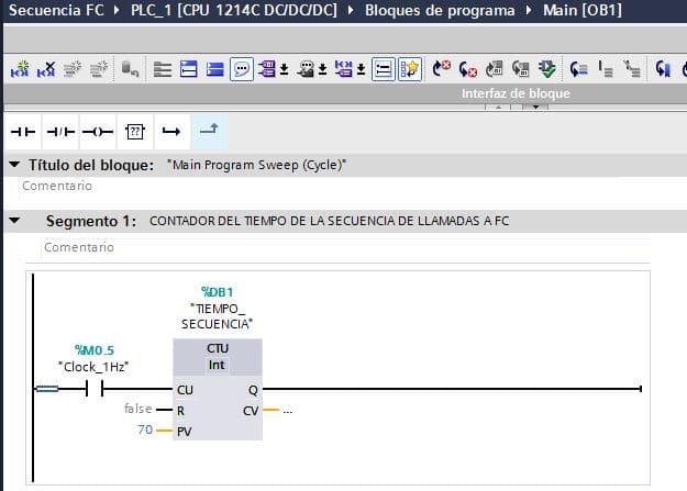 Contador para el tiempo en TIA Portal secuencia lectura.
