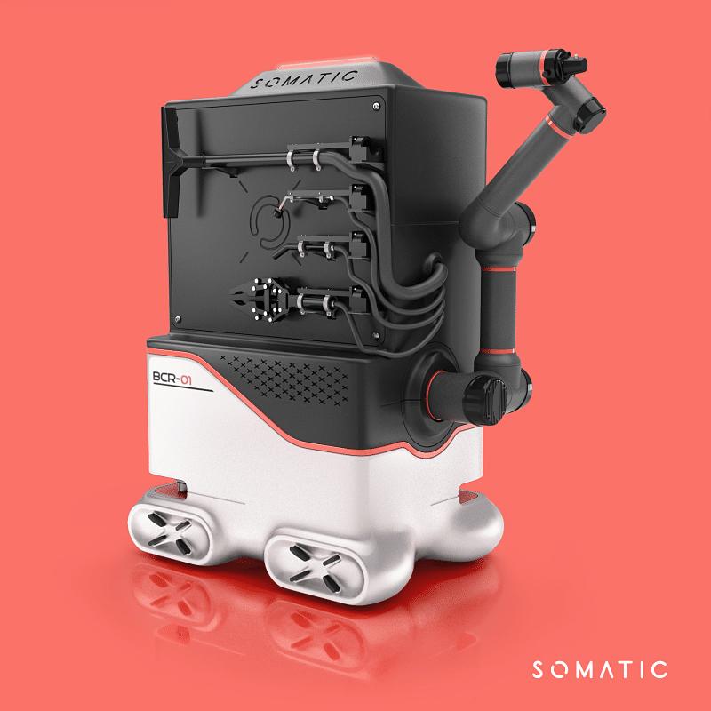 Robot limpia baños con las distintas herramientas para manejar en la limpieza