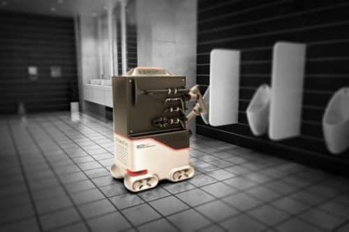 Robot limpia baños utilizando brazo robótico