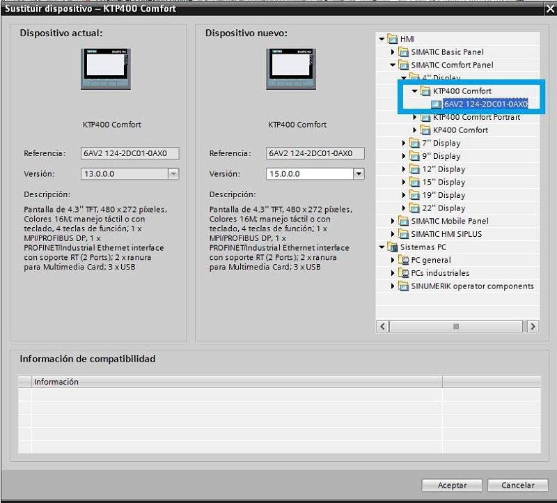 Seleccionar la pantalla HMI para nuestro proyecto TIA Portal
