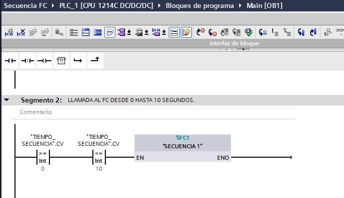 TIA Portal secuencia lectura de datos del FC1 cada 10 segundos.