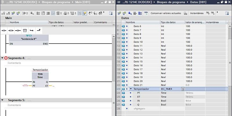 Temporizador creado dentro de un DB pero no está compilado