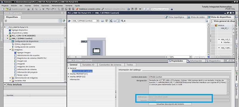Ver versión de Firmware de la pantalla HMI en el proyecto TIA Portal
