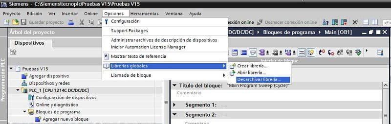 Opción Desarchivar para abrir Librería comprimida en TIA Portal