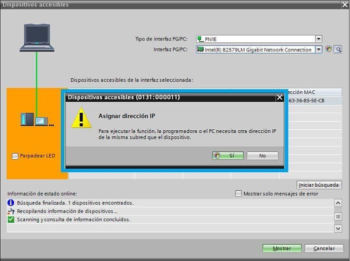 Asignar dirección IP Virtual al ordenador mediante TIA Portal comunicación PLC