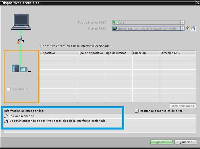 Buscando dispositivos en la red mediante TIA Portal comunicación PLC